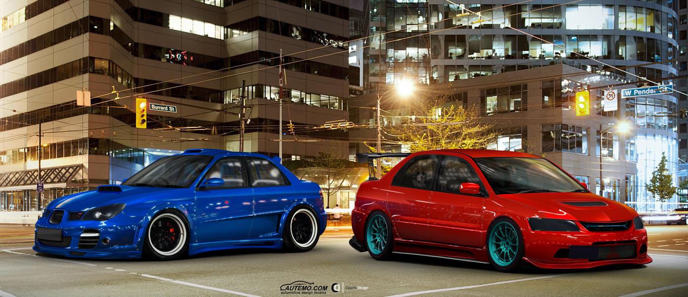 Subaru Impreza WRX vs. Mitsubishi Lancer IX by Cipprik