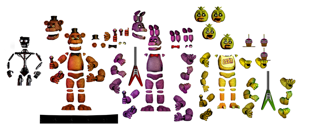 Fnaf1 animatronic resources by freddyfredbear