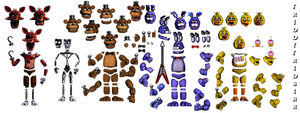 FNAF 1 Animatronic Resources (Improved) by FreddyFredbear