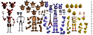 FNAF 1 Animatronic Resources (Improved) by FreddyFredbear