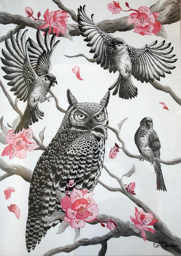 Owl says sparrow by Camille-Light