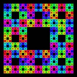 Sierpinski carpet, boldly colored