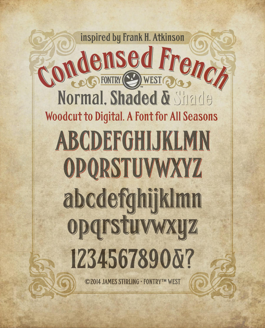 Condensed French Antique Sign Font Specimen Po By