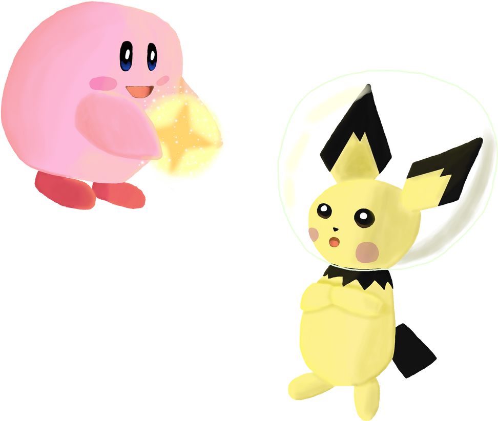 Light Kirby and Space Pichu for Charity by WindySilver