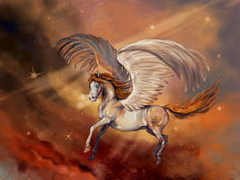 A flying lady of gold by Araxel