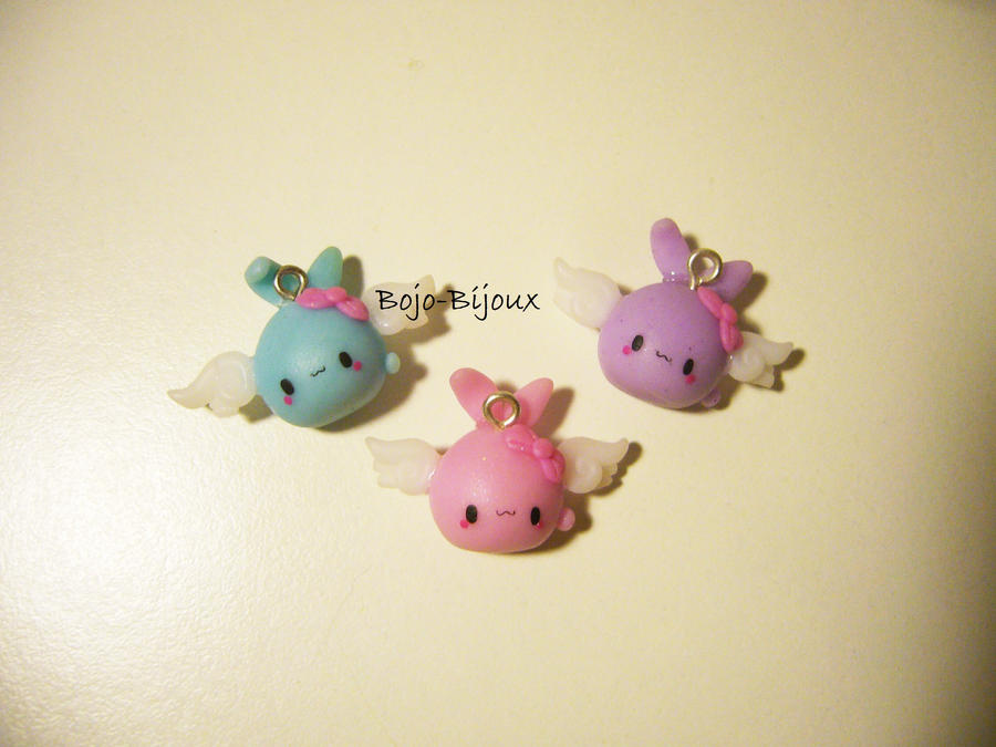 Kawaii mini winged bunnies by Bojo-Bijoux