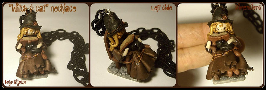 Witch and cat Necklace by Bojo-Bijoux
