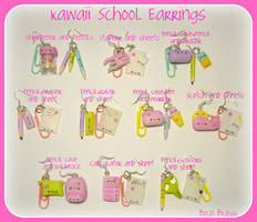 Kawaii School Earrings by Bojo-Bijoux