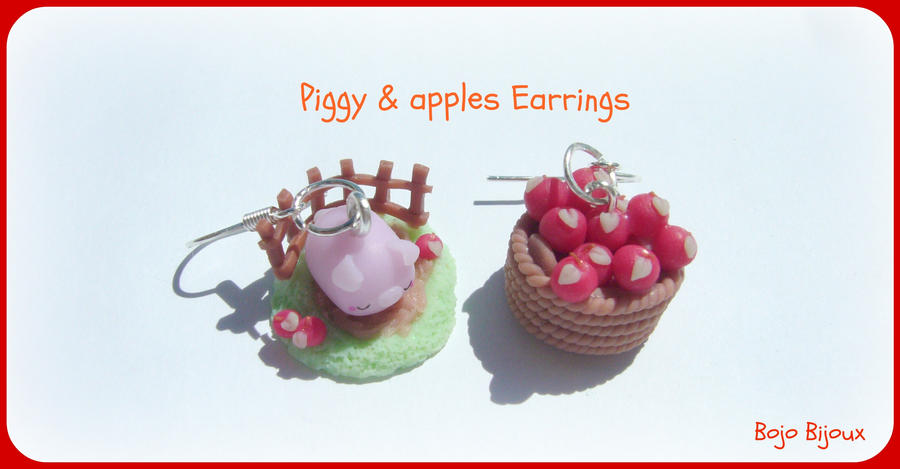 Piggy and apples earrings by Bojo-Bijoux