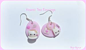 Kawaii tea earrings by Bojo-Bijoux
