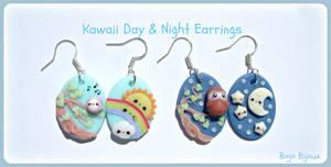 Kawaii day and night earrings