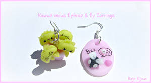 Kawaii venus flytrap and fly earrings