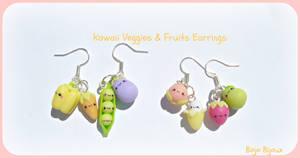 Kawaii veggies and fruits earrings
