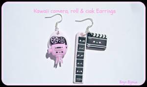 Kawaii camera,roll and ciak earrings