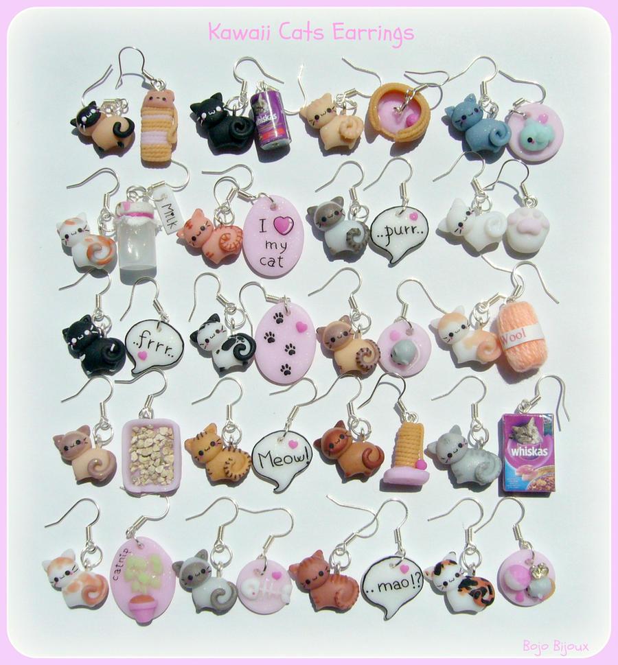 Kawaii cats earrings by Bojo-Bijoux
