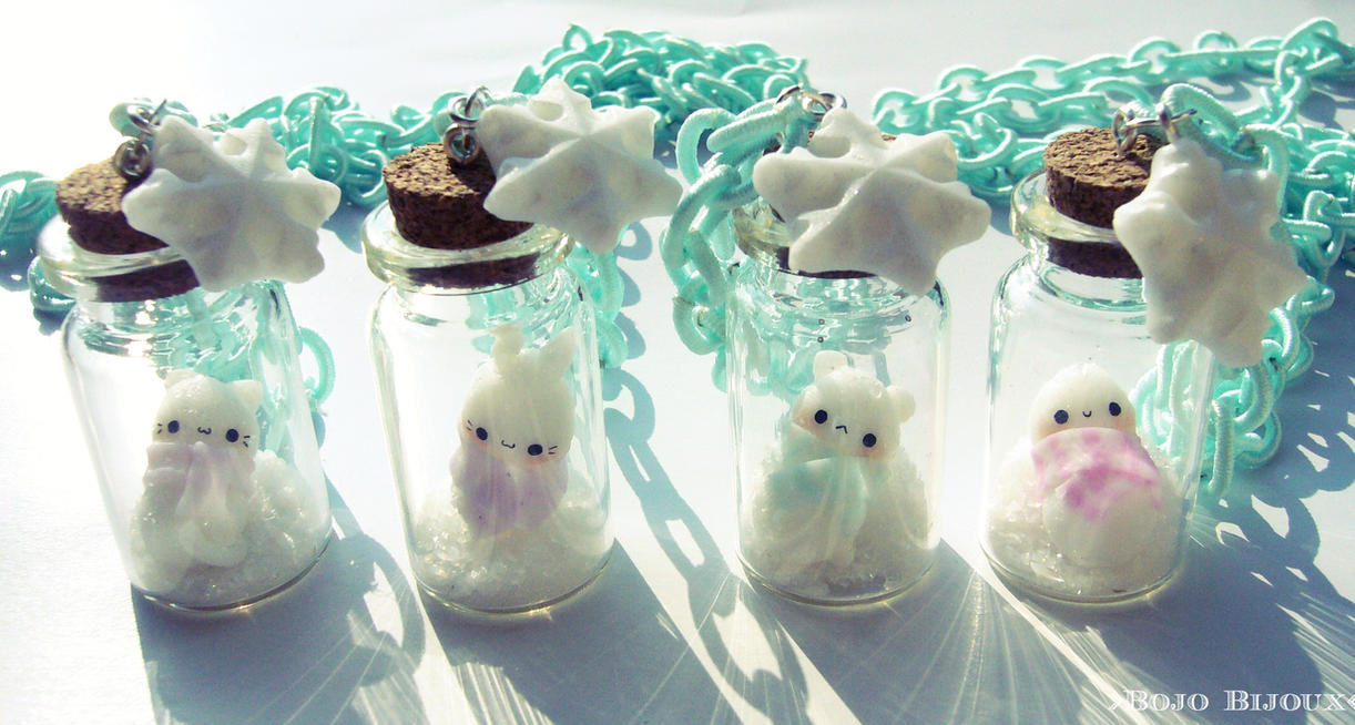 Wintern Snowmen Jars Necklaces by Bojo-Bijoux