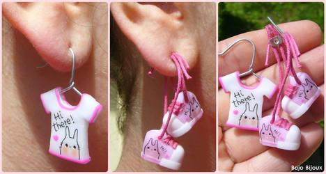 Bunny shirt and sneakers fake ear plug/earring