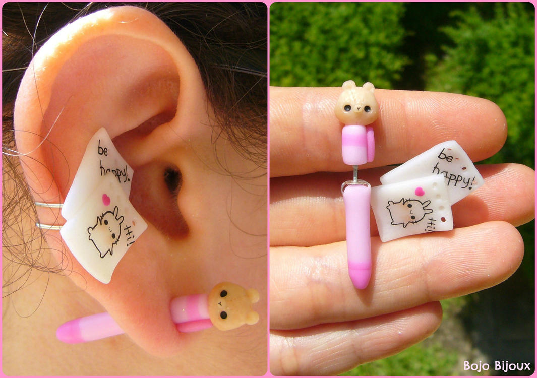 Teddy pen and paper fake plug/ear cuff by Bojo-Bijoux