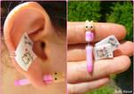 Teddy pen and paper fake plug/ear cuff