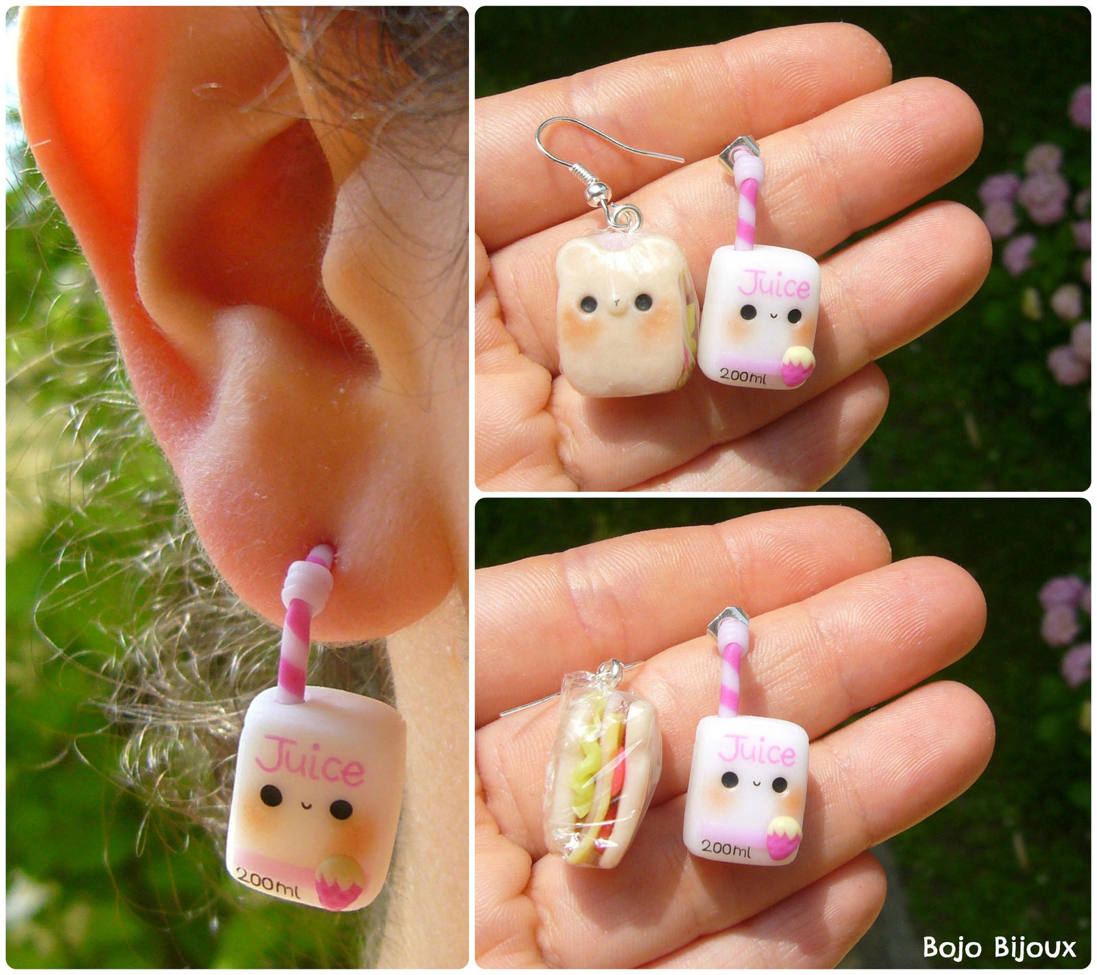 Teddy sandwich and juice - fake ear plug by Bojo-Bijoux