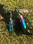 Rainbow Titanium Quartz Crystal Earrings