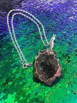 Rainbow Titanium Quartz Geode Necklace
