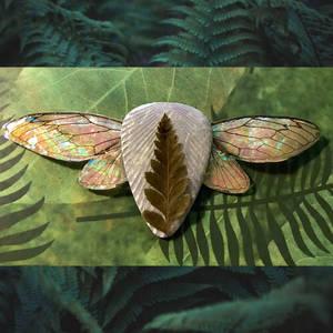 REAL Cicada Wing Necklace w/ Leather Leaf Fern - 1