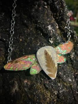 REAL Cicada Wing Necklace w/ Leather Leaf Fern - 2