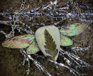 REAL Cicada Wing Necklace w/ Leather Leaf Fern - 3