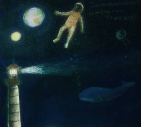 Lighthouse, astronaut and the whale