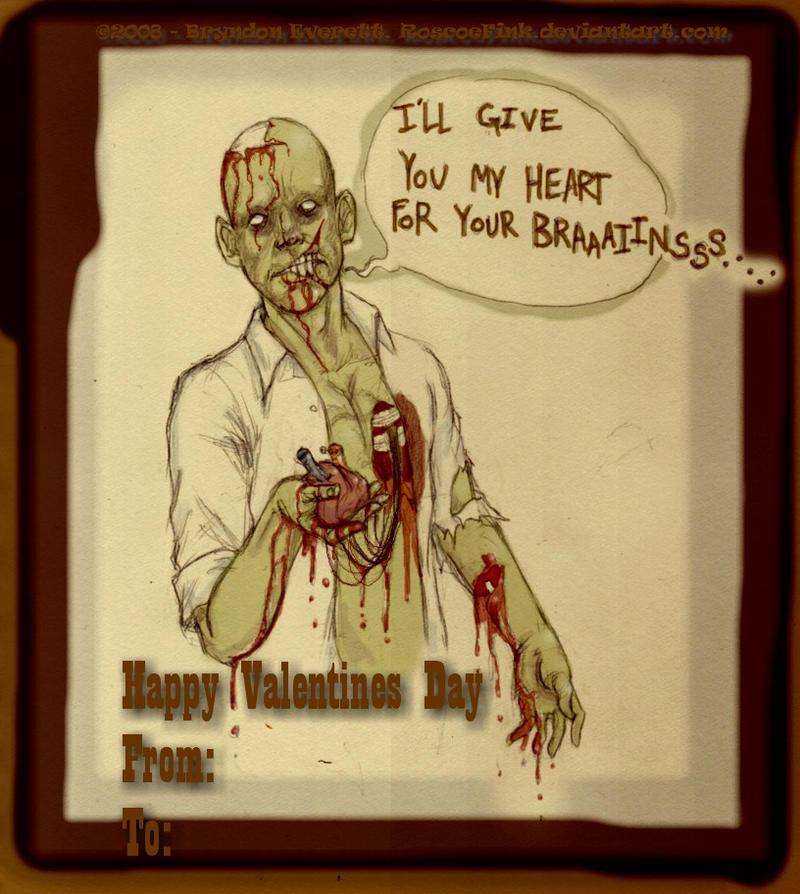 Zombie Valentine Card. by RoscoeFink