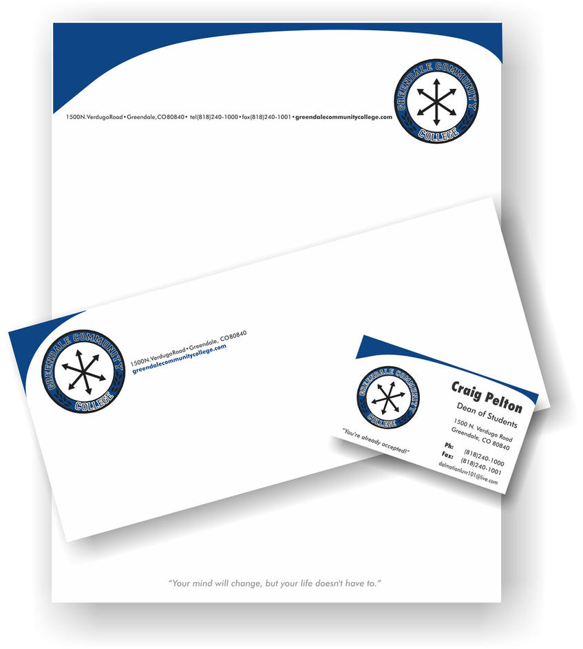 Greendale Community College - Stationary Package by Mazdi ...