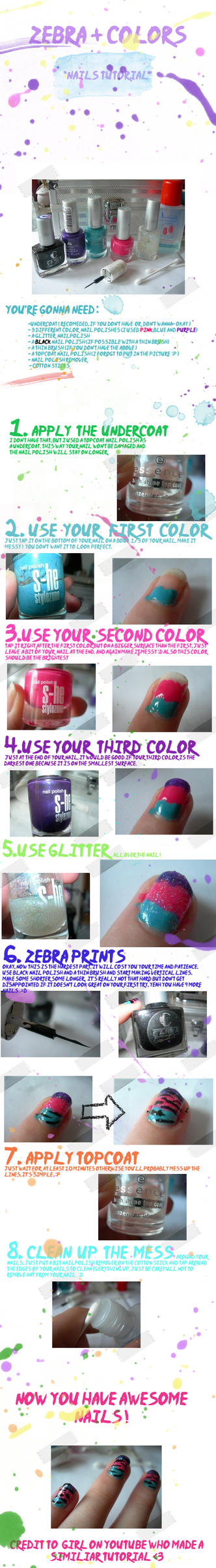 zebra + colors nails tutorial by Shey10