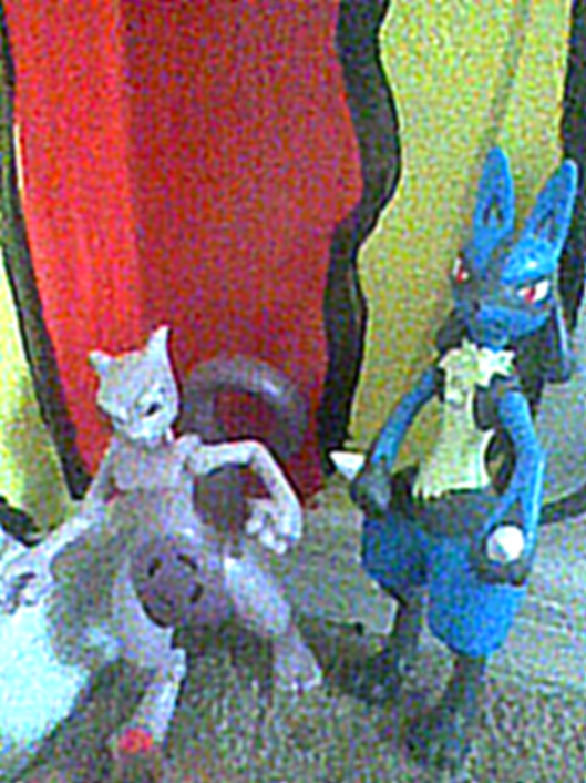 Mewtwo and Lucario Figurines by LadyData
