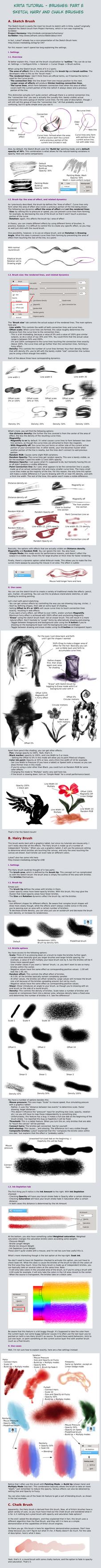 Krita Tutorial: Sketch, Hairy, Chalk Brushes by White-Heron