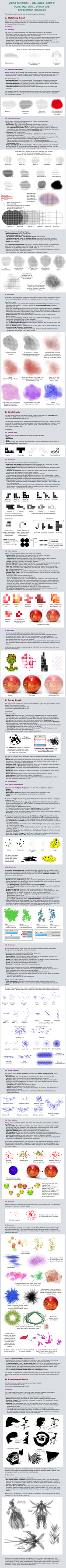 Krita brushes: Hatching, Grid, Spray, Experiment by White-Heron