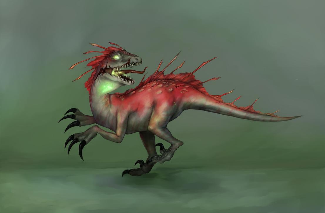 Radioactive Velociraptor by carouselclover