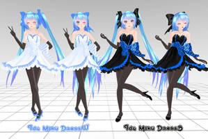 MMD Tda Miku Dress B and W Download !! by InoriAruma