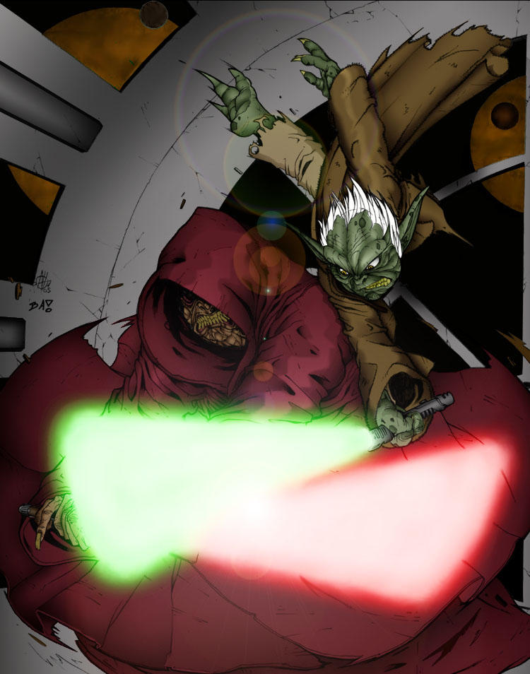 Yoda vs. Darth Sidious by wrathofmagneto
