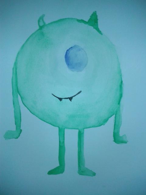 Mike Wazowski - Watercolour by Etrenelle