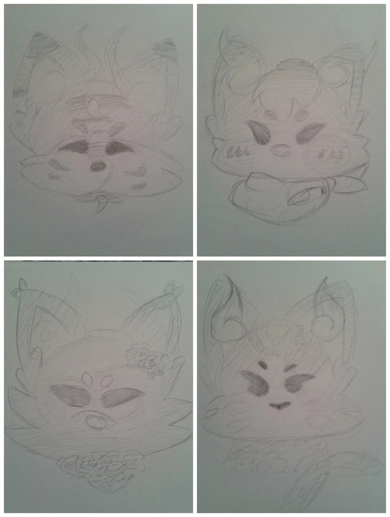 Finished Soulfox Headshot Sketches by Etrenelle