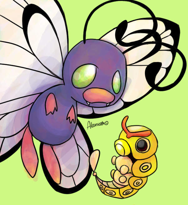 Shiny Butterfree and Caterpie by skeletall