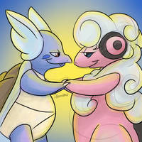 Wartortle and Flaaffy by skeletall