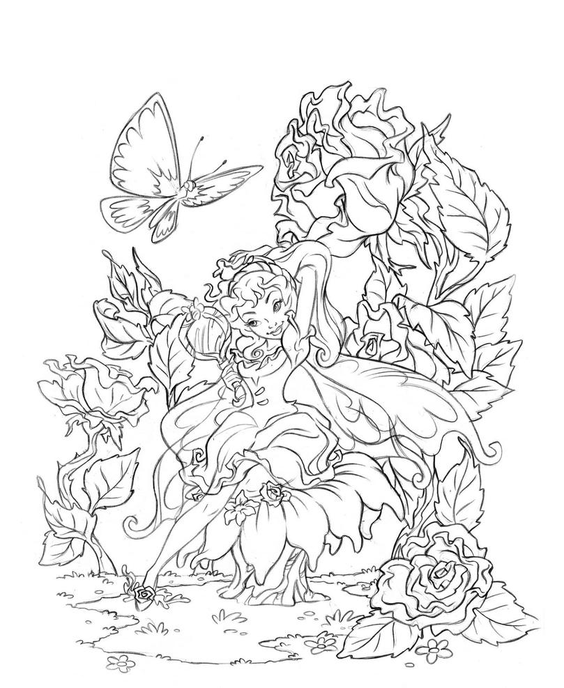 fantasy realistic fairy coloring pages - photo#45