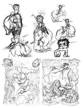 Sketchbook(BettyB and Mermaids)