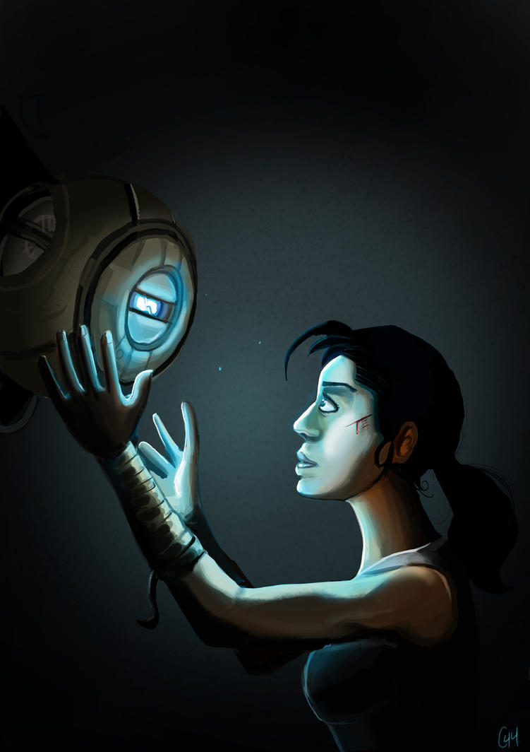 Chell and Wheatley by Comedic44