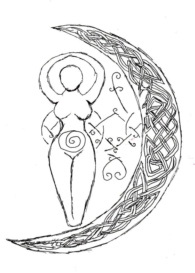 Goddess and Celtic Knot Moon by KleidAusRosen on DeviantArt