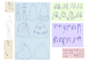 Elements for dress up game in rococo style