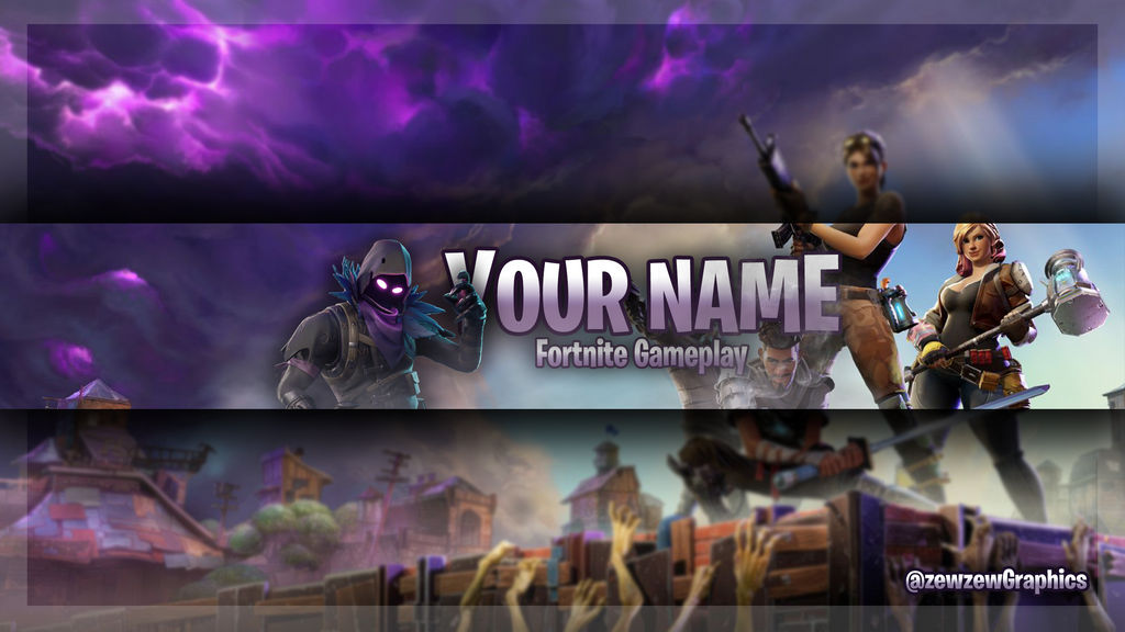 free fortnite youtube banner by zewzewgraphics - fortnite on youtube