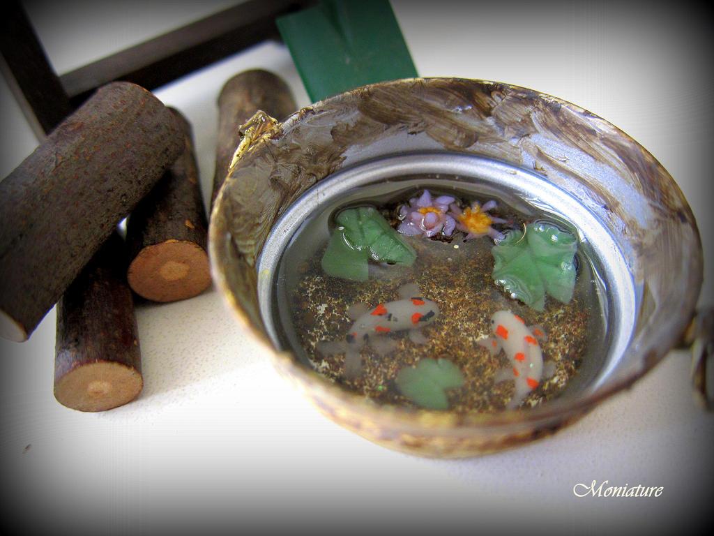 Polymer clay koi koi pond by giggomon on deviantart for Clay fish pond